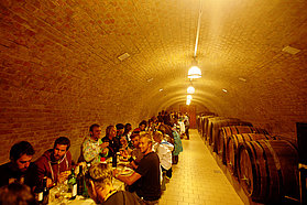 Dinner in the wine cellar