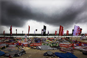 Rain clouds hang over the event site