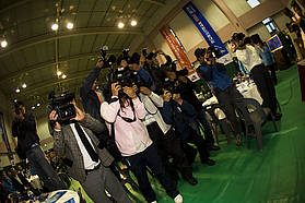 Korea press gather
