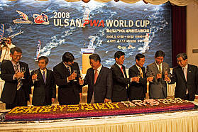 A toast at the opening ceremony to celebrate the 2008 Ulsan PWA World Cup