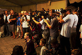 The press gather for the PWA Tenerife closing ceremony