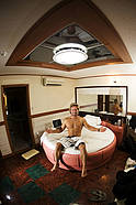 Robby Swift chills in his Korean Hotel room