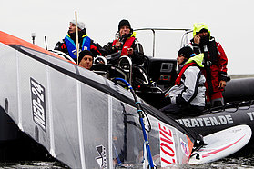 Volwater takes a break on the start boat