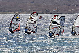 High wind slalom action