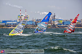 Racing in front of the huge shipyards