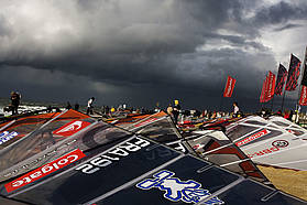 Dark skies over the rigging area