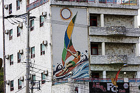 Windsurfer on local building