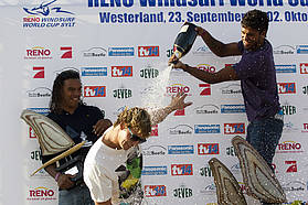 Van Broekhoven gets sprayed with champagne