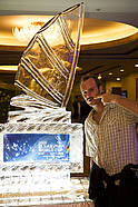 Kevin Pritchard keeps his cool next to Ice sculpture