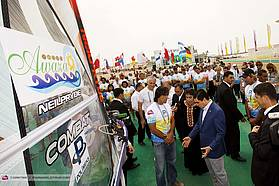 The President of Turkmenistan checks out windsurfing