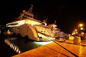 Luxury Yachts lined up in St Tropez