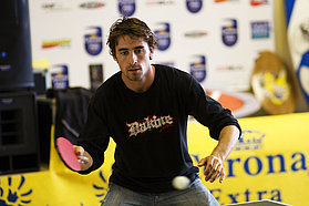Regis Bouron on the table tennis table