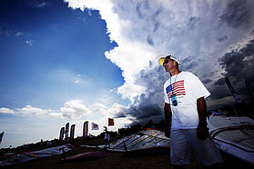 Micah Buzianis checks out the storm clouds