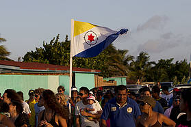 The Bonaire flag stands proud