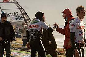 Angulo celebrates his first PWA slalom victory