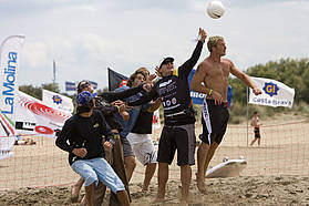 The boys player beach soccer