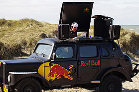 Red Bull van banging out the tunes